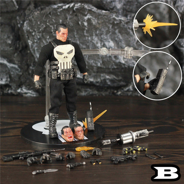 "One:12 Marvel Punisher Frank Castle 6"" Action Figure 1/12 1:12 Comic Movie Toys Doll With Windbreaker Coat Black Suit Picture - Magical Emporium"