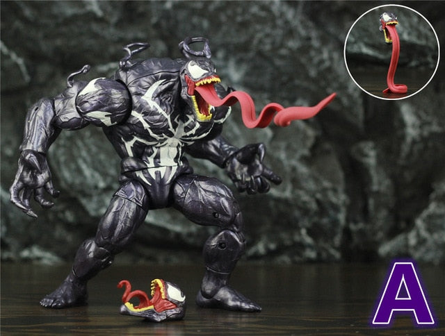 "Venom 8"" Action Figure 20cm Amazing Spider Man Villain KO's Marvel Legends BAF Long Tongue Head Spiderman Toys Doll Edward Brock Picture - Magical Emporium"