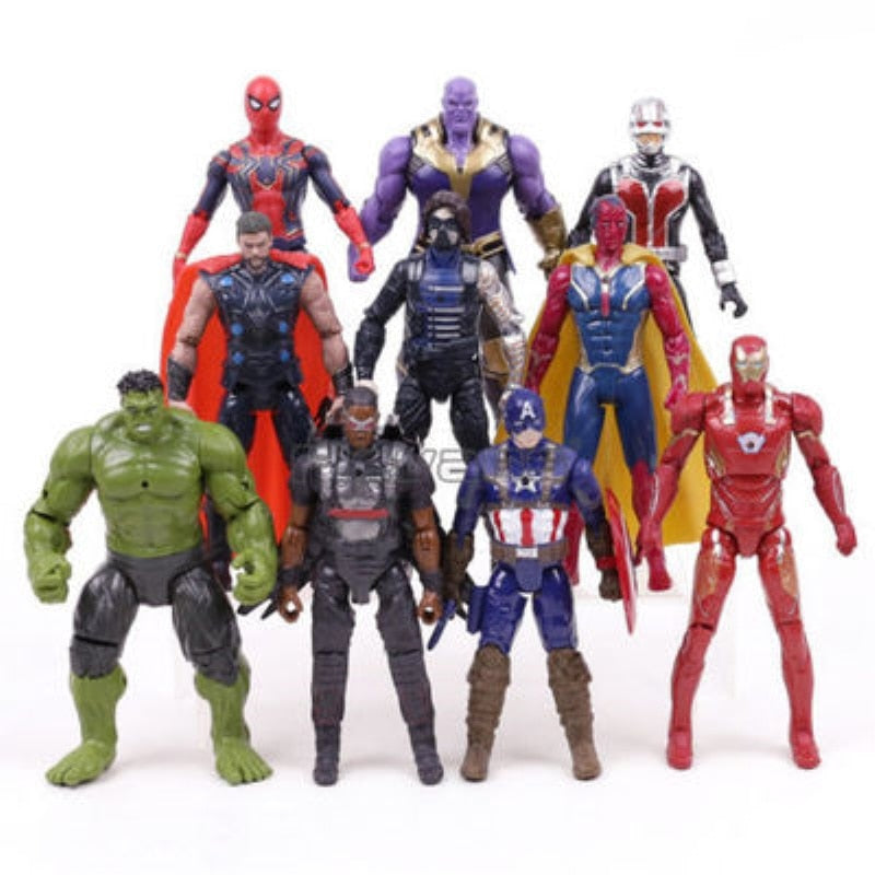 Christmas gift Marvel Avengers 3 Infinity War Action Figures Toys Set Hulk Captain America Spiderman Thanos Iron Man Hulkbuster - Magical