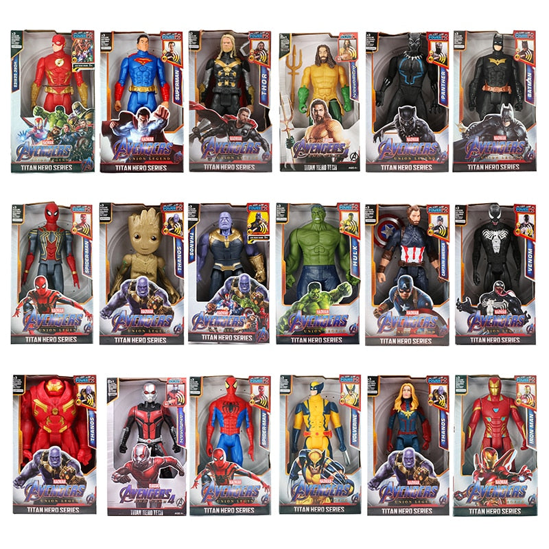 12''/30cm Marvel Avengers Venom Batman Flash Superman Spiderman Thanos Hulk Iron Man Thor Groot Action Figures Toy For Kid Gifts - Magical