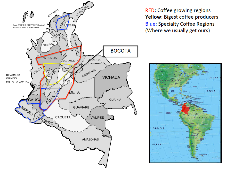 Colombian Specialty Coffee Growing Regions Map