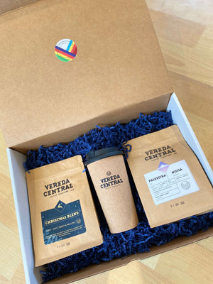 Combo gift box includes two 250g bags of specialty Colombian Coffee roasted in house with a Vereda Central travel mug Oakville Ontario Kerr Street Village