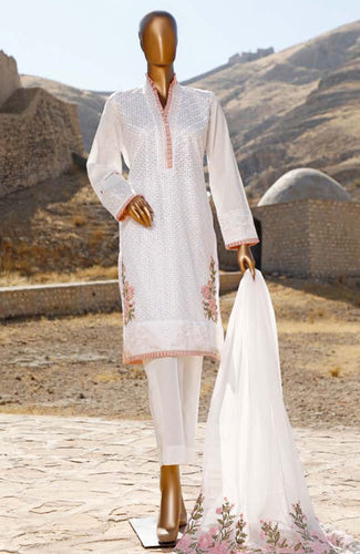 Muskan Ahmed White Luxe Embrd.Lawn'21 By Saqafat
