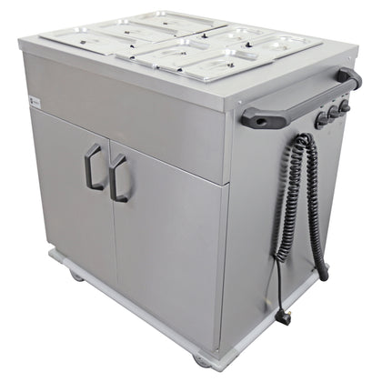 Parry Stainless Hinged Door Mobile Servery With Bain Marie