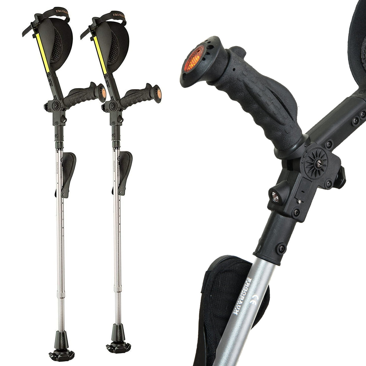 Ergobaum 7G Long Term Folding Ergonomic Shock-Absorbing Crutches (Pair)