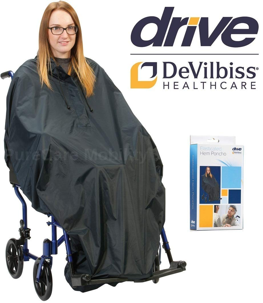 Drive Elasticated Hem Waterproof Wheelchair Poncho Rain Cape