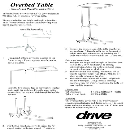 Overbed Chair Table With Castors