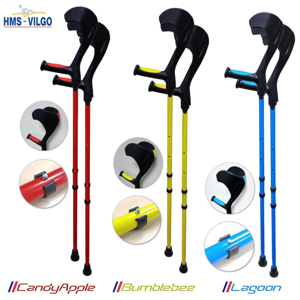HMS Vilgo Modern Non-Slip Adjustable Colourful Crutches