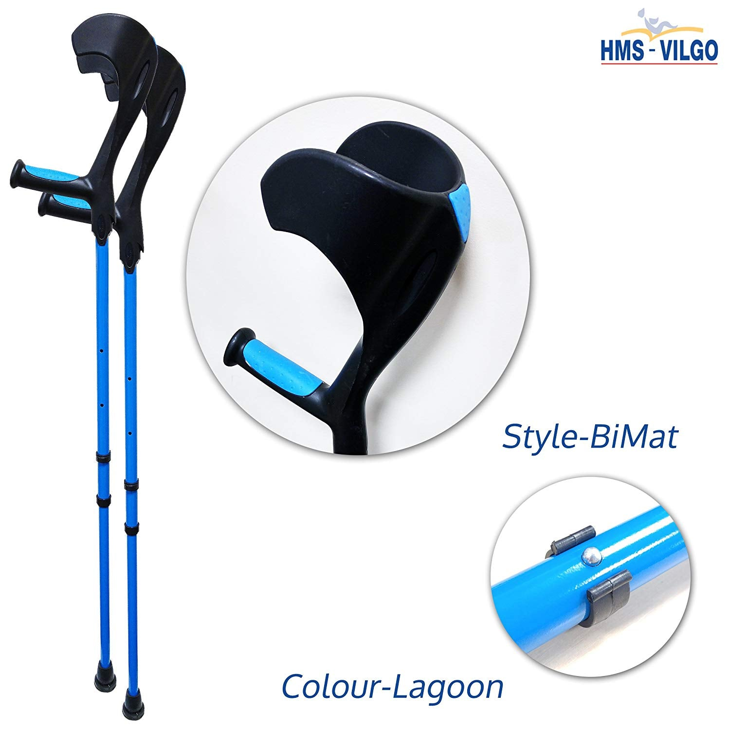 HMS Vilgo Modern Non-Slip Adjustable Colourful Crutches (Pair)