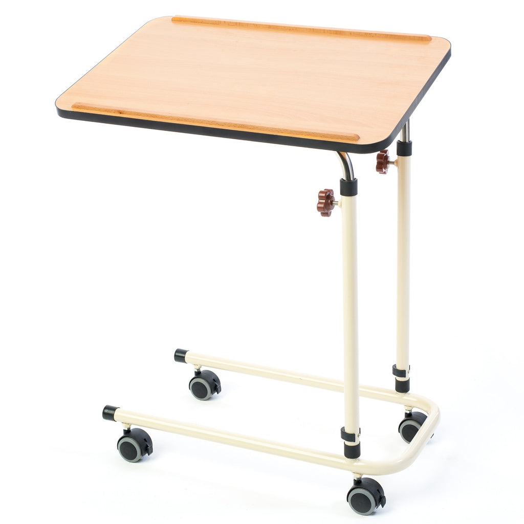Alerta Beech Laminate Adjustable Over Bed Table With 4 Braked Wheels