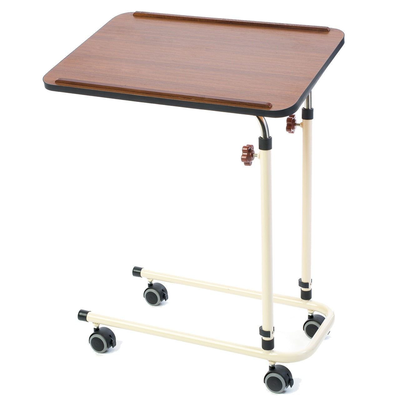 Alerta Walnut Laminate Adjustable Over Bed Table With 4 Braked Wheels / Castors