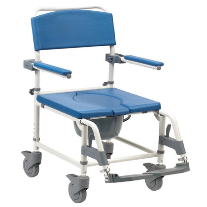 Aston Heavy Duty Braked Height Adjustable Mobile Shower Chair Commode