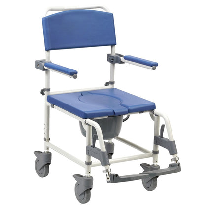 Aston Aluminium Braked Height Adjustable Mobile Shower Chair Commode