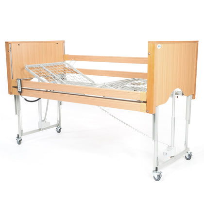 The Encore Classic Low Oak Electric Profiling Hospital / Care Bed