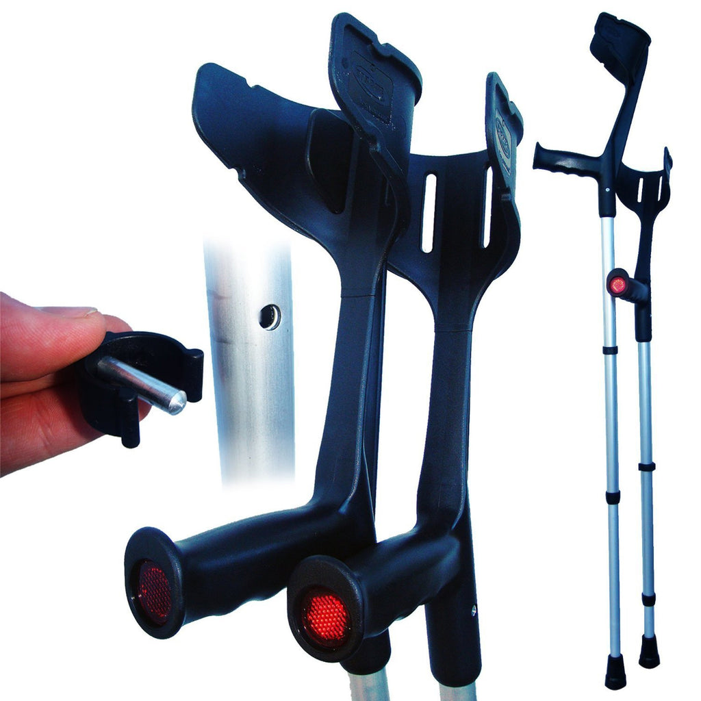 Rebotec Magic Twin Strong Adjustable Open Cuff Crutches (Pair)