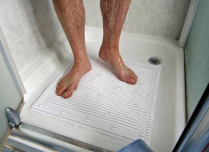 Non Slip Anti-Microbial Anti-Slip Shower Mat with 'Silver Technology' by StayPut - White 50.8 x 50.8cm