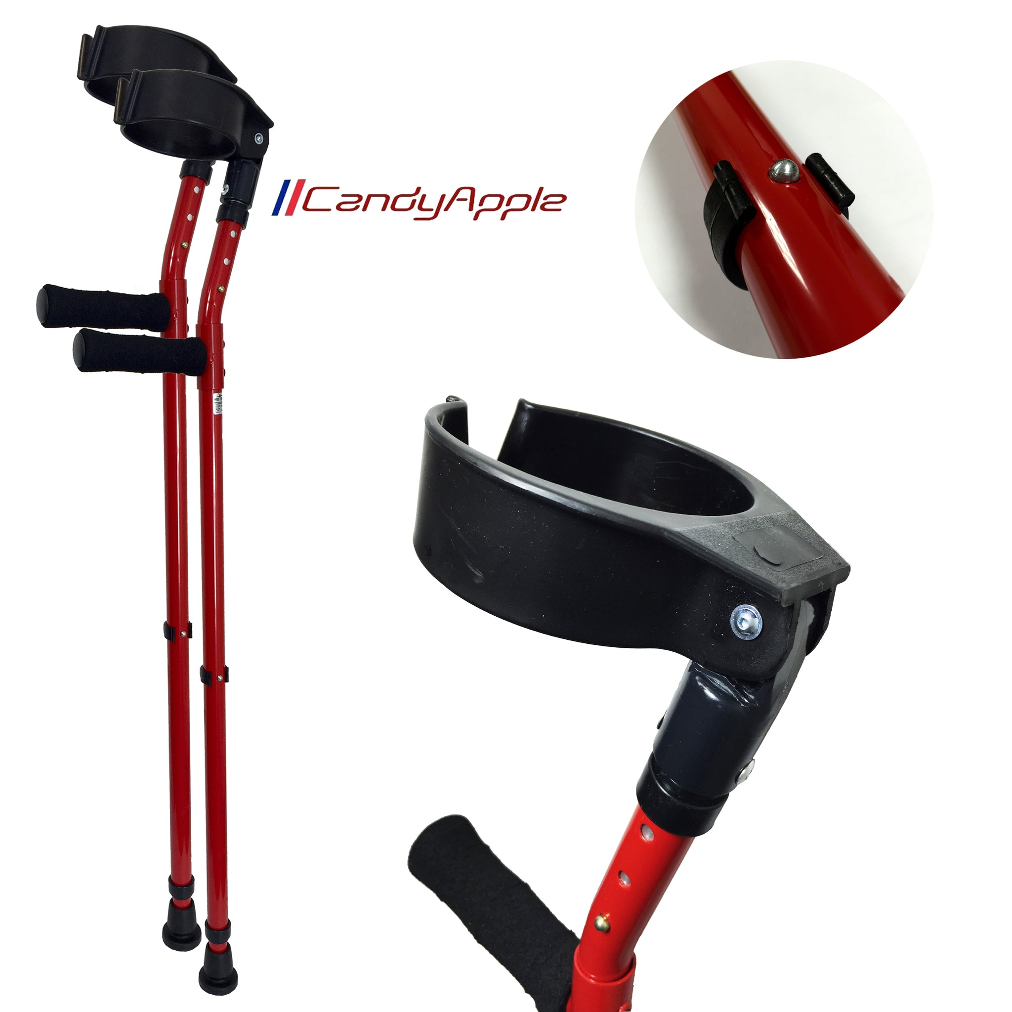 Vilgo Soft Grip Closed Cuff Double Adjustable Colourful Crutches (Pair)