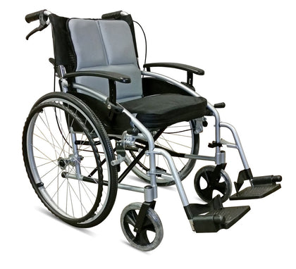 Z-Tec 18 Folding Aluminium Self Propelled Wheelchair with Attendant Handbrakes