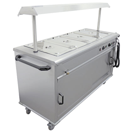 Parry Stainless Mobile Servery with Bain Marie Top and Gantry