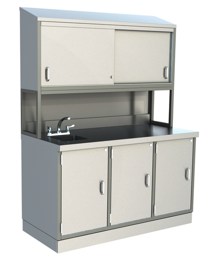 Parry Stainless 3 Door Counter Cabinet With Sink & Top Cupboard