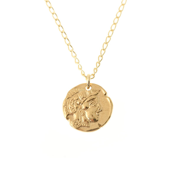 Athena Coin Necklace Gold