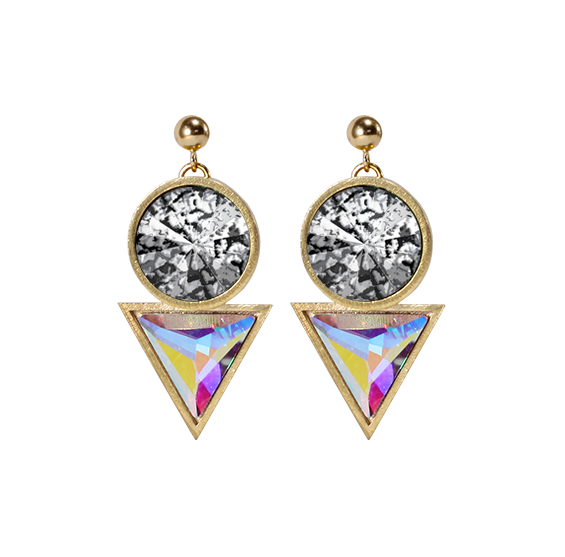 Gold Cosmic Drop Earrings Swarovski crytals