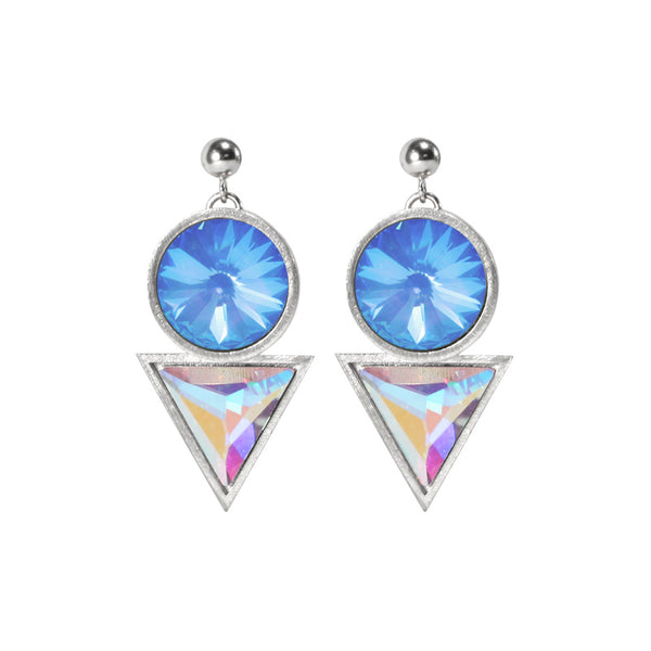 Cosmic Drop Earrings Swarovski crytals Silver