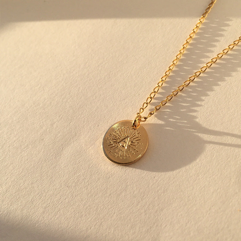 Halo Initial Gold Disc Necklace
