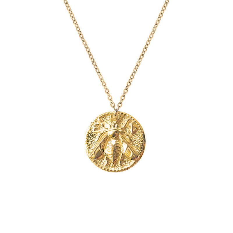 Queen Bee Coin Necklace Gold