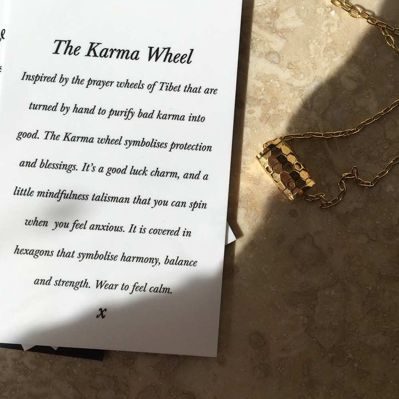 Tiny Karma Wheel Necklace Gold