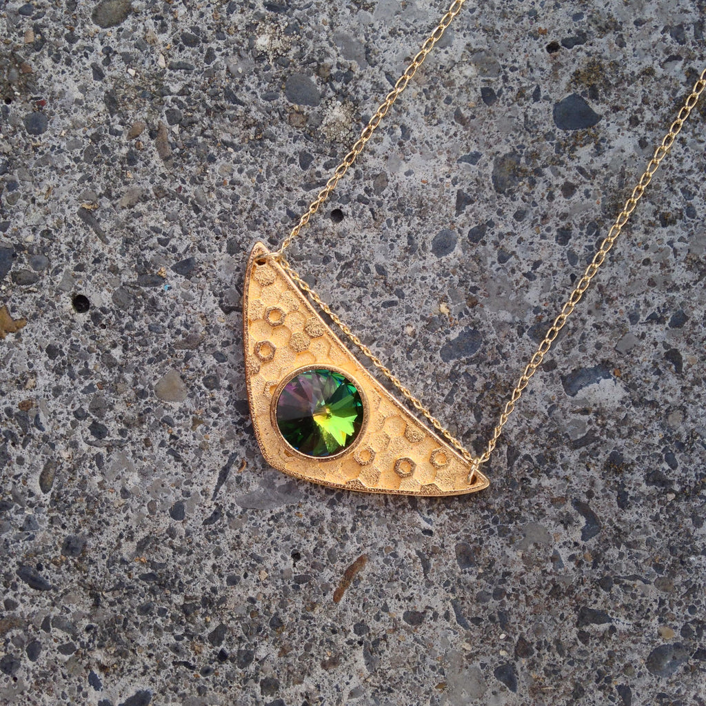 Triangulum Necklace Green Sphinx Swarovski, 24ct Antique Gold