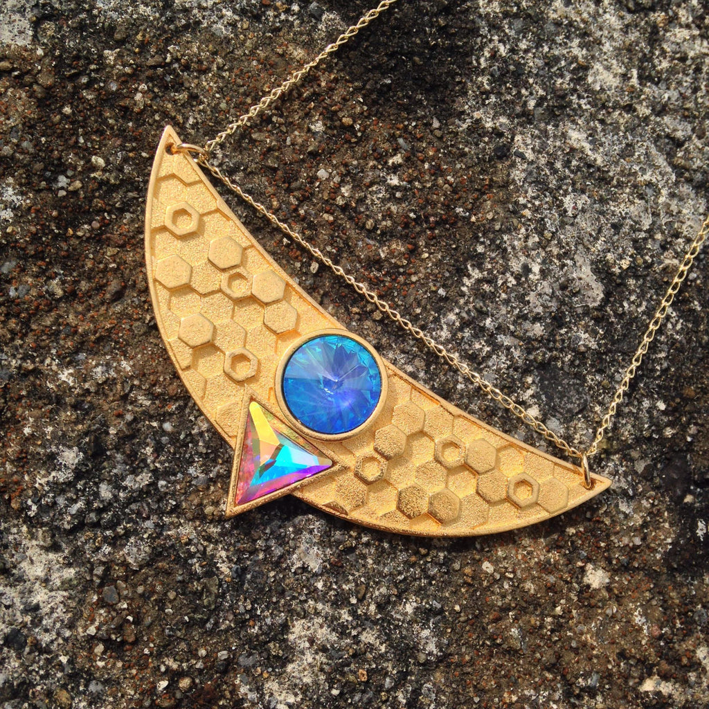 Egyptian Goddess Necklace - Cosmic Blue Swarovski in 24ct Antique Gold