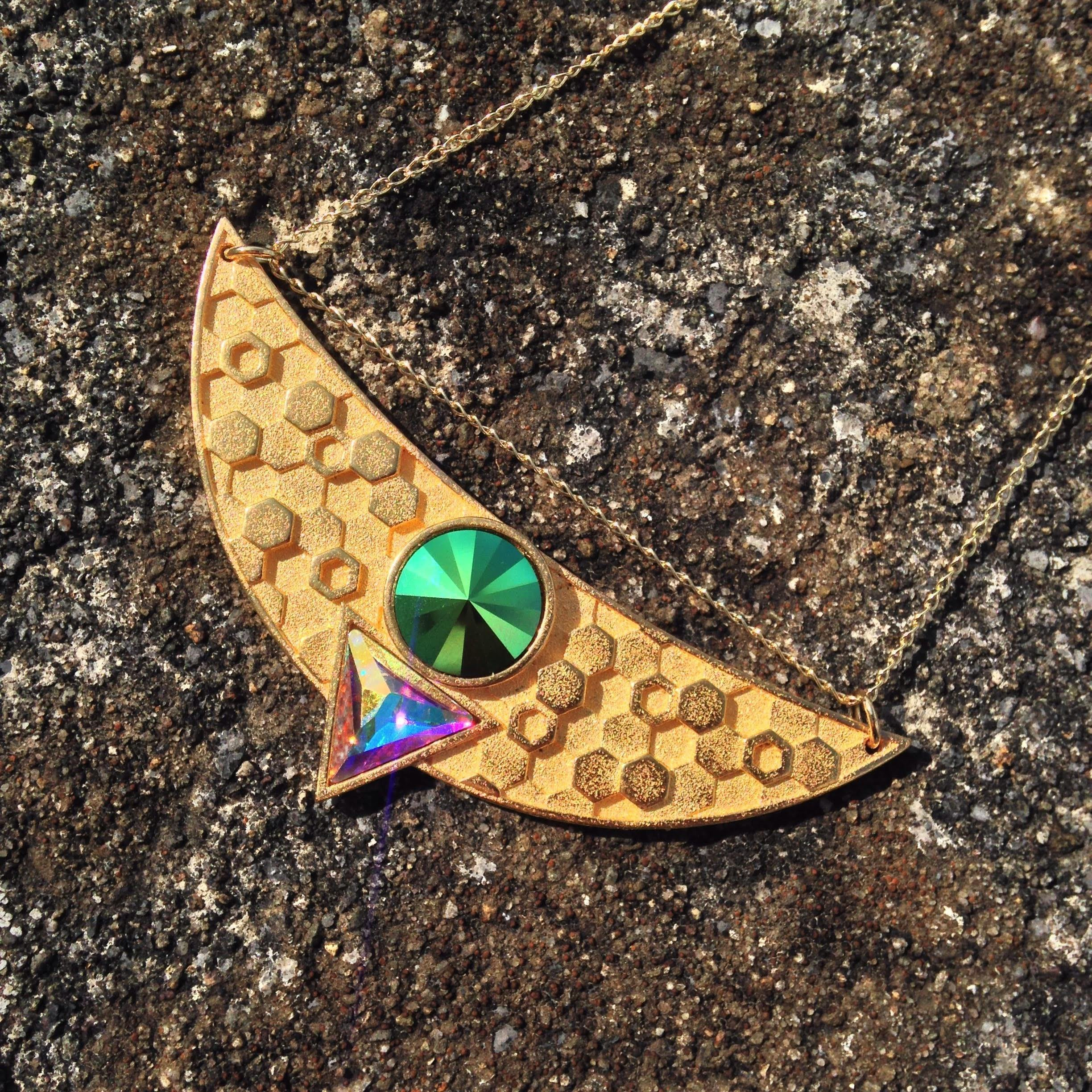 Egyptian Goddess Necklace - Metallic Green Swarovski in 24ct Antique Gold