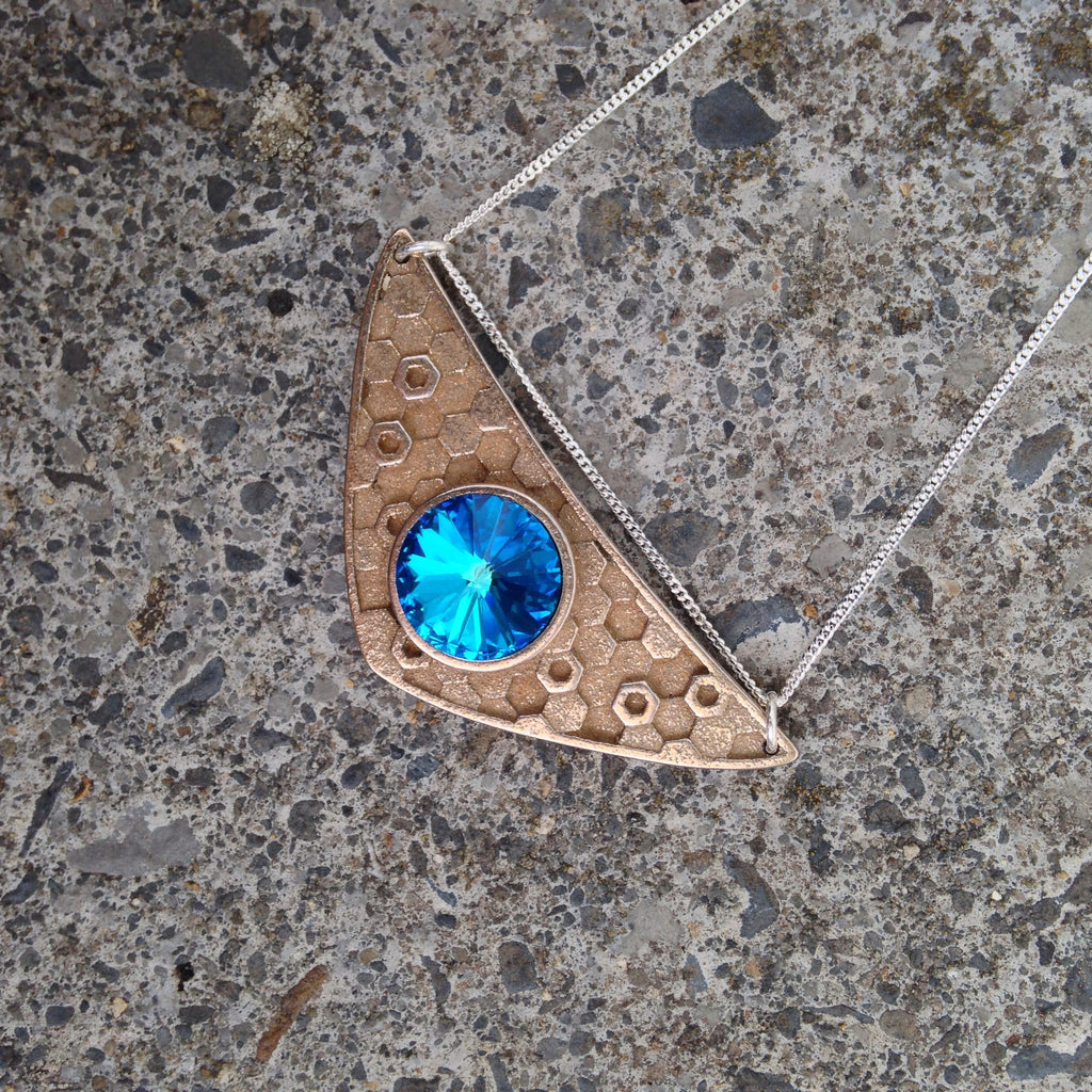 Triangulum Necklace Bermuda Blue Swarovski, Antique Steel