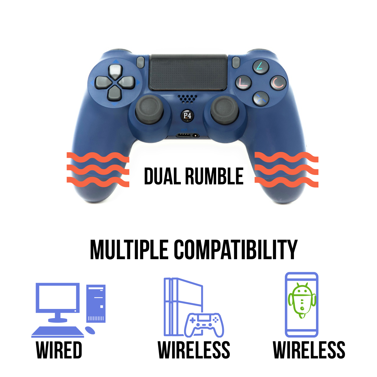 PS4 Controller V2 CHASDI Wireless Bluetooth with USB Cable