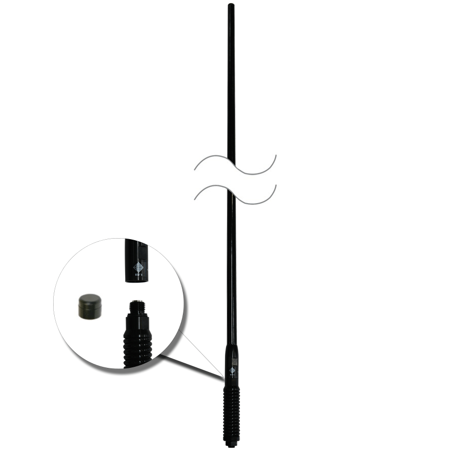 RFI CDQ-7197-B Bullbar Mounted Q-Fit Broomstick 3G+4G+4GX Antenna Black 1210mm