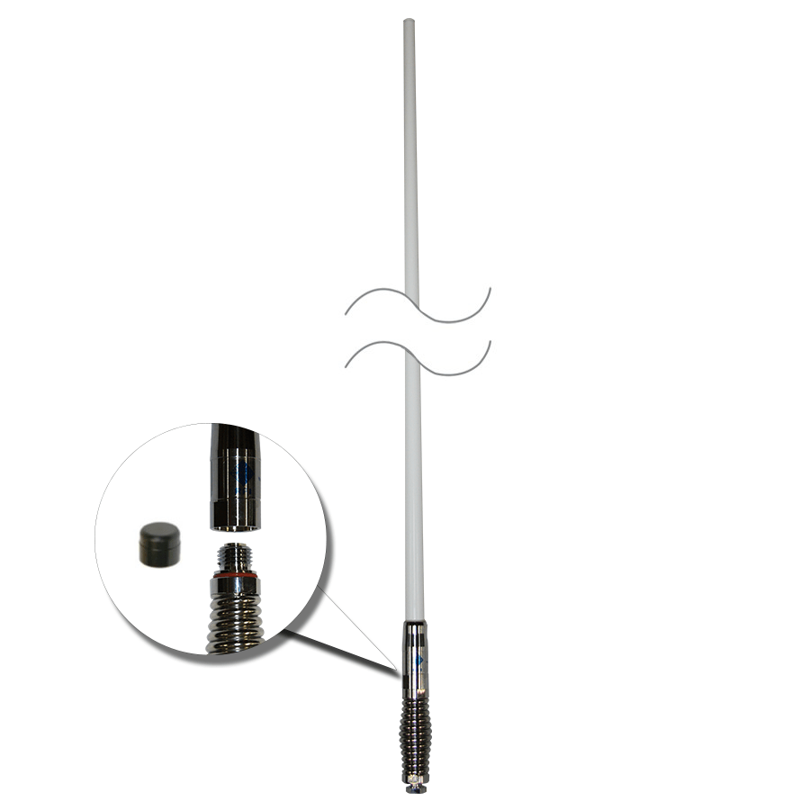 RFI CDQ8000-W Q-Fit UHF CB 477Mhz Collinear Antenna - White/Chrome 2080mm - Point to Point Distributions