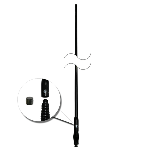 RFI CDQ5000-B Q-Fit UHF CB 477Mhz Collinear Antenna - Black / Black Chrome Spring 1010mm - Point to Point Distributions
