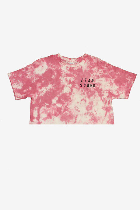 Strawberry Pink LEANSQUAD Tie Dye Crop Top