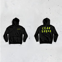 Load image into Gallery viewer, SQUADIE HOODIE BLACK - SAFETY GREEN LOGO *UNISEX