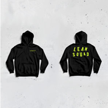 SQUADIE HOODIE BLACK - SAFETY GREEN LOGO *UNISEX