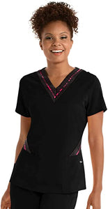 Grey's Anatomy Active Women's Spandex Stetch Zip Text Top