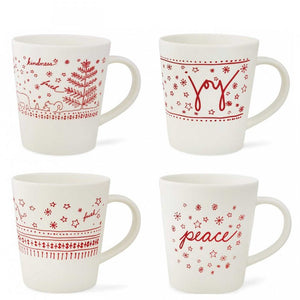ELLEN  Holiday Mugs, Set of 4