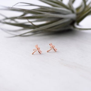 Glee - Dragonfly Studs, Rose Gold