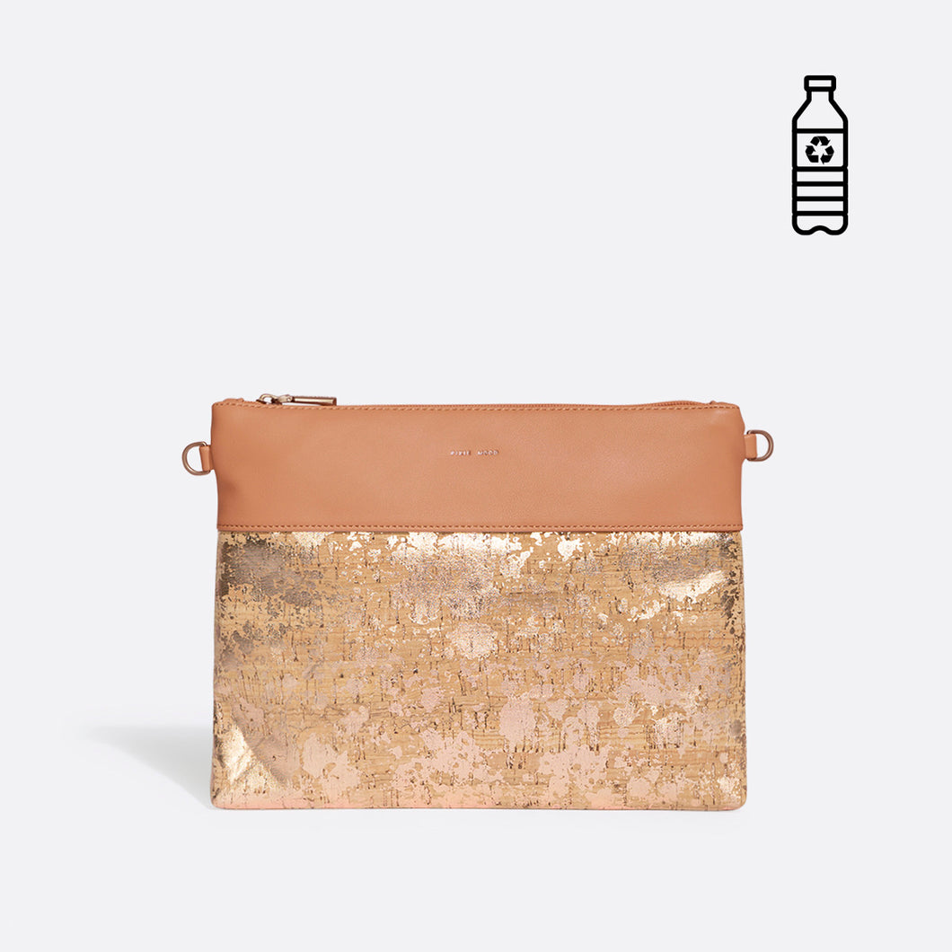 Pixie Mood NICOLE Pouch Large - Apricot/Metallic Rose Cork