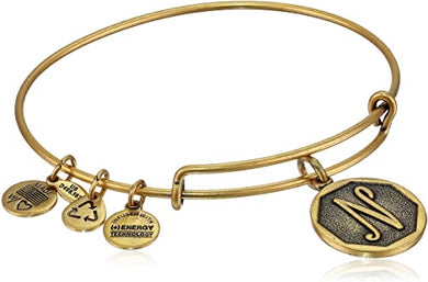 "Alex and Ani -Letter ""N""Expandable Charm Bangle, Gold Finish"
