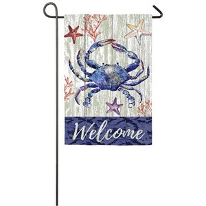Evergreen - Welcome Crab Garden Suede Flag