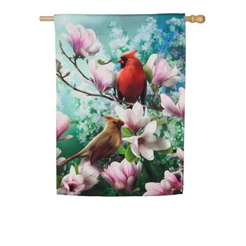 Evergreen - Cardinal Family Garden Suede Flag