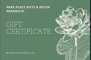 PARK PLACE Gift Certificate