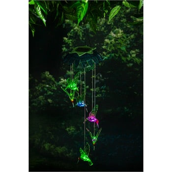 Evergreen - Color Changing Hummingbirds Solar Mobile with Flower Top